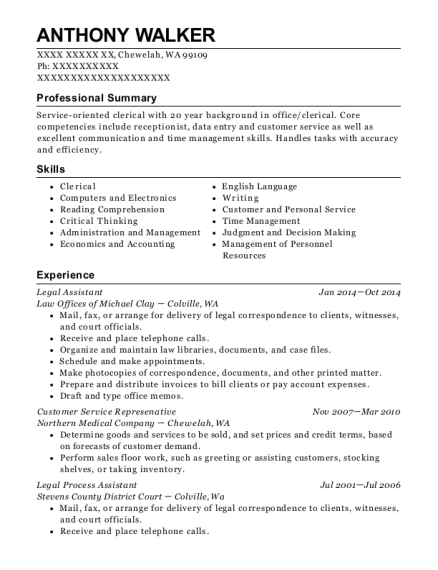 Legal Assistant resume format Washington