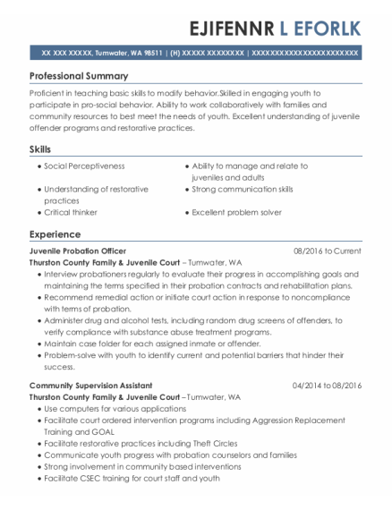 Juvenile Probation Officer resume sample Washington