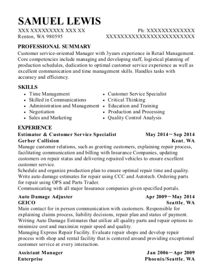 Estimator & Customer Service Specialist resume example Washington