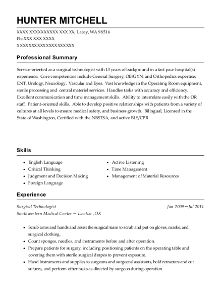 Surgical Technologist resume template Washington
