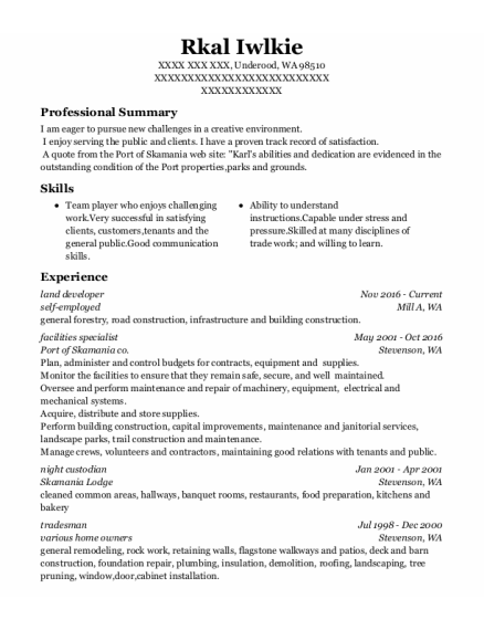 Night Custodian resume template Washington