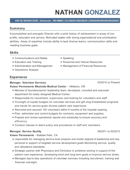 Manager resume format Washington