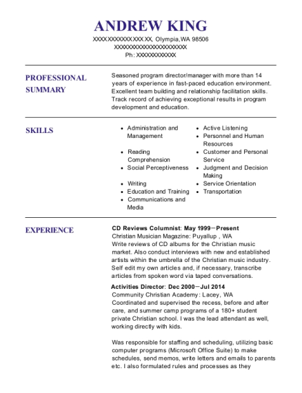 CD Reviews Columnist resume example Washington