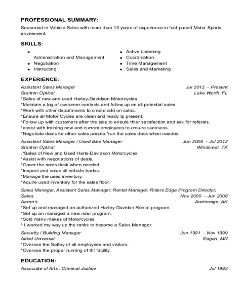 Assistant Sales Manager resume sample Washington