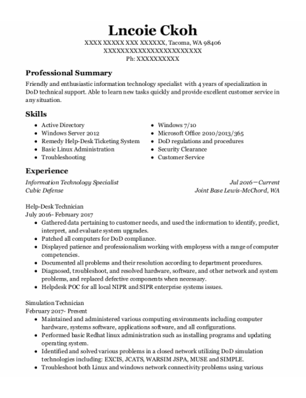 Information Technology Specialist resume sample Washington