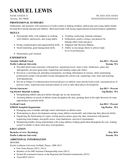Assistant Softball Coach resume template Washington