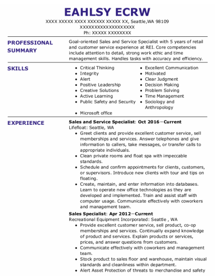 Sales And Service Specialist resume template Washington