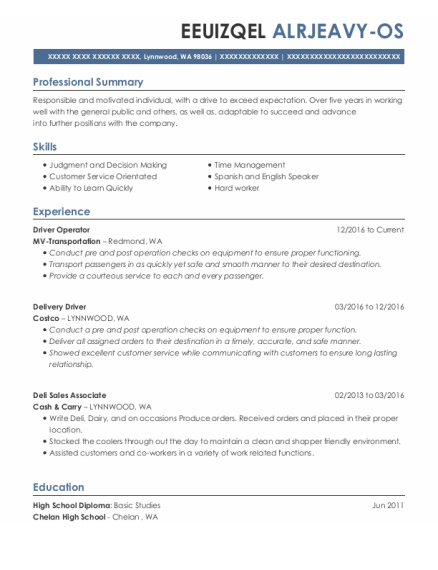 Driver Operator resume example Washington