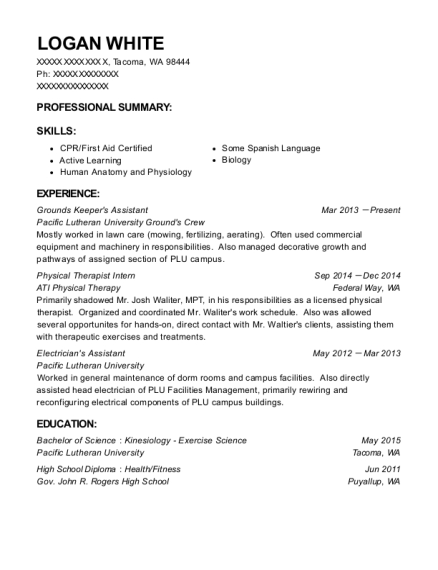 Grounds Keepers Assistant resume template Washington