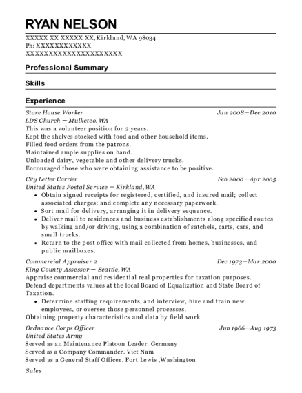 Store House Worker resume format Washington