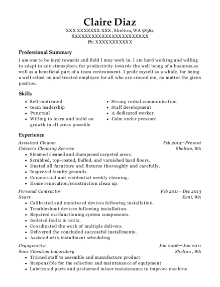 Assistant Cleaner resume template Washington