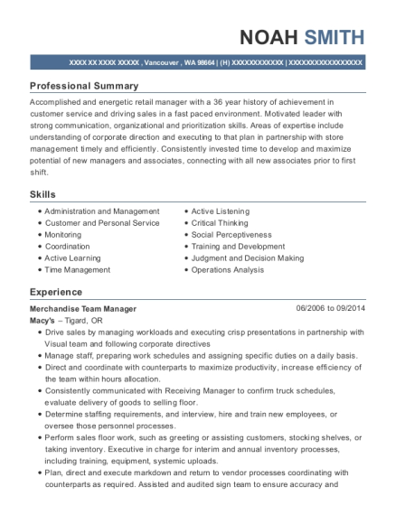Merchandise Team Manager resume template Washington