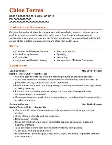 Lead Bartender resume example Washington
