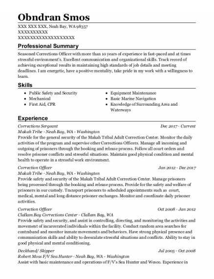 Corrections Sergeant resume format Washington