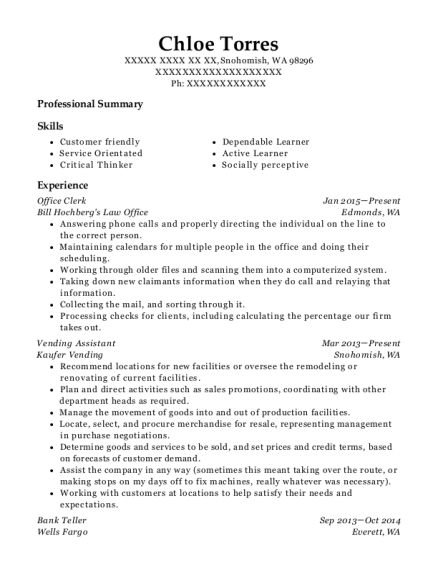 Office Clerk resume format Washington