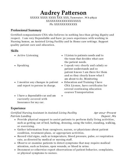 Certified Nursing Assistant in Assisted Living Facility resume example Washington