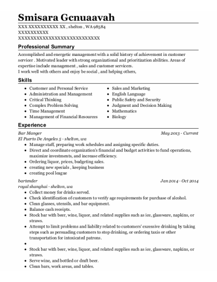Bar Manger resume template Washington