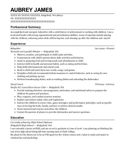 Babysitter resume sample Washington
