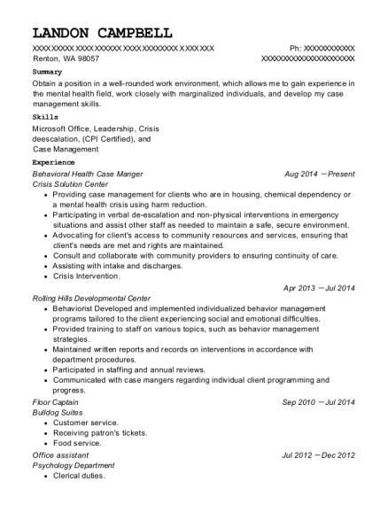 Behavioral Health Case Manger resume example Washington