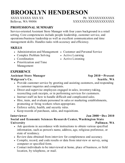 Assistant Store Manager resume format Washington
