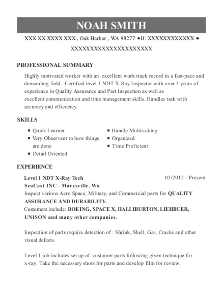 Level 1 NDT X Ray Tech resume example Washington