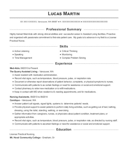 Med Aide resume example Washington