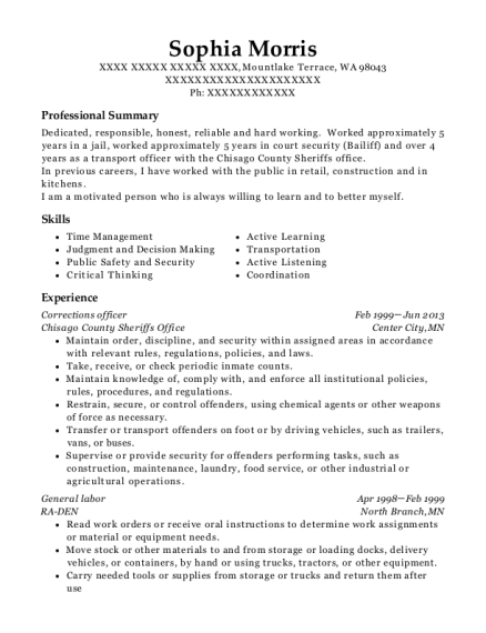 Corrections Officer resume template Washington
