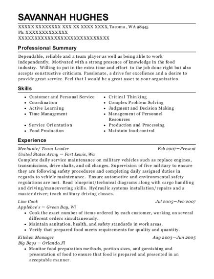 Mechanic resume template Washington