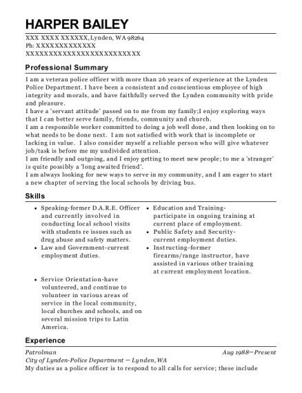 Patrolman resume example Washington