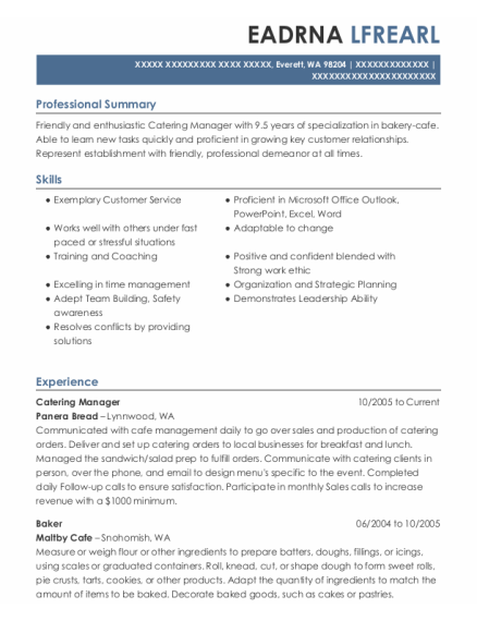 Catering Manager resume template Washington