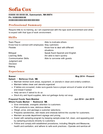 Busser resume example Washington