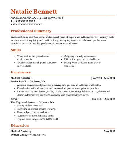 Medical Assistant resume template Washington