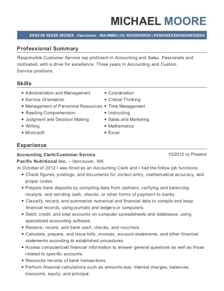 Accounting Clerk resume example Washington