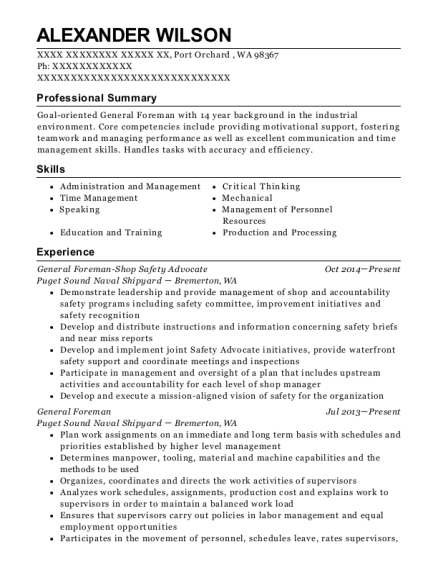 General Foreman Shop Safety Advocate resume sample Washington