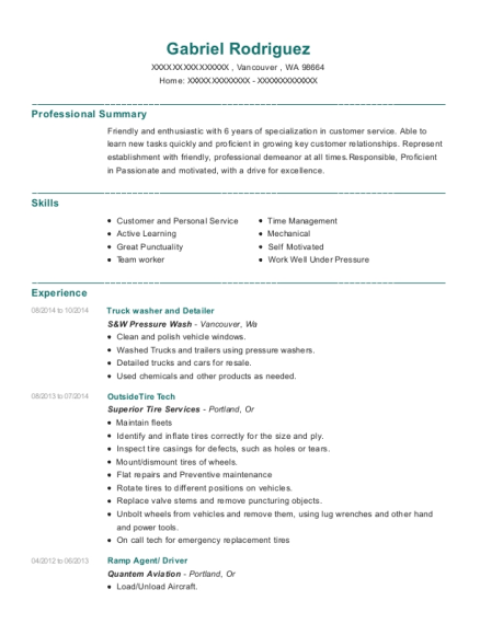 Truck washer and Detailer resume template Washington