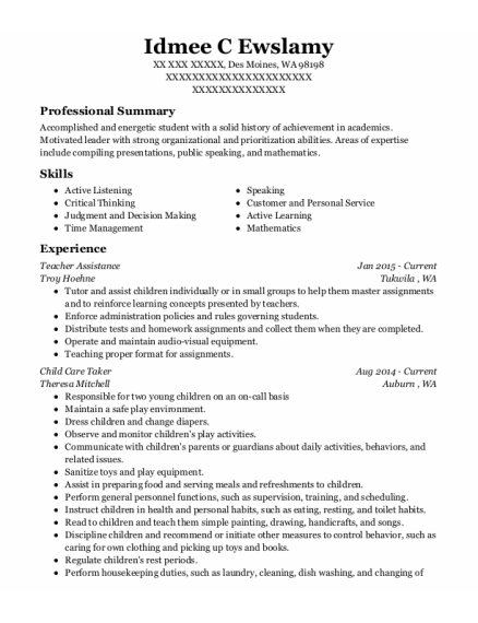 Teacher Assistance resume template Washington
