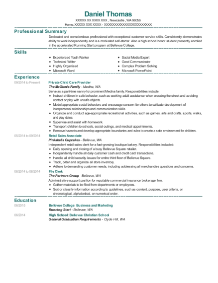 Private Child Care Provider resume format Washington