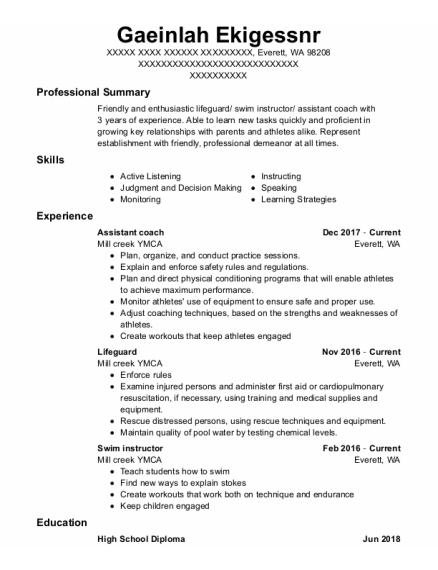 Assistant Coach resume format Washington