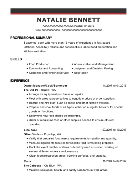 Owner resume example Washington