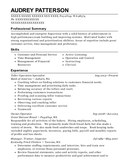 Teller Operation Specialist resume template Washington