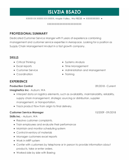 Production Control resume format Washington