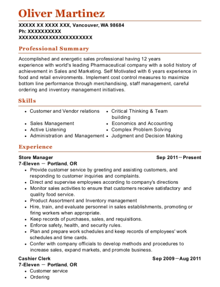 Store Manager resume sample Washington