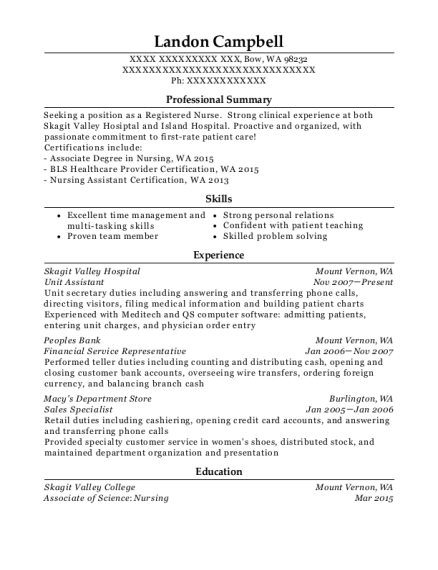 queen of the valley medical center unit assistant resume