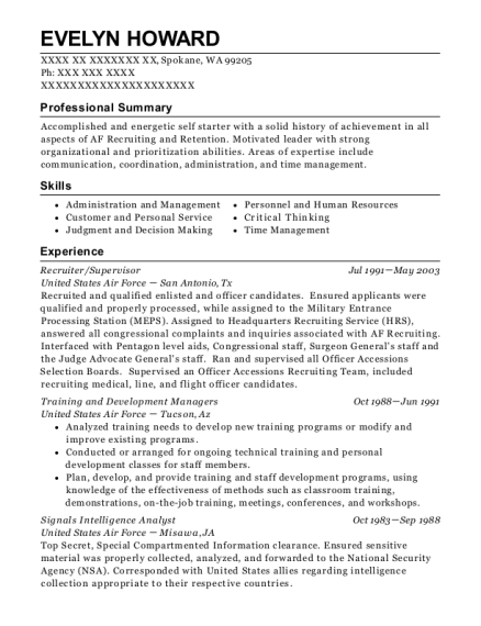 Recruiter resume format Washington