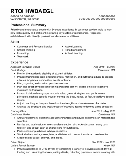 Assistant Volleyball Coach resume example Washington