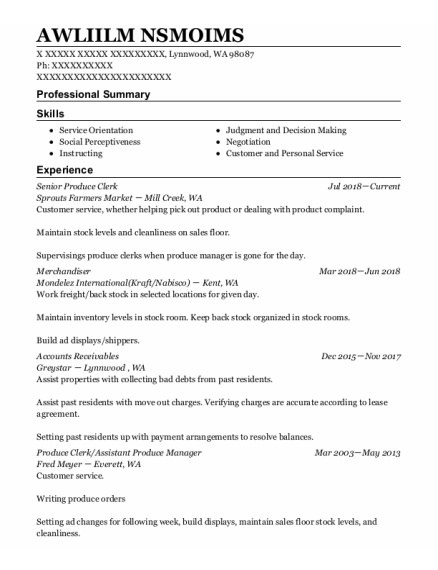 Merchandiser resume sample Washington