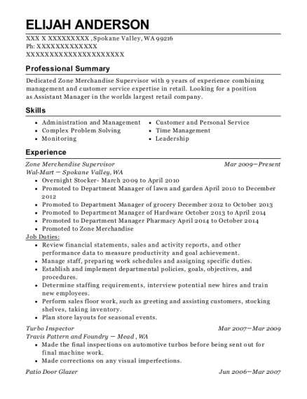 Zone Merchendise Supervisor resume sample Washington
