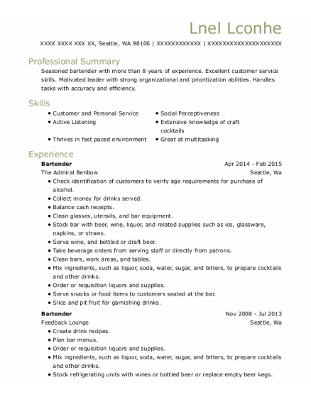 Bartender resume template Washington