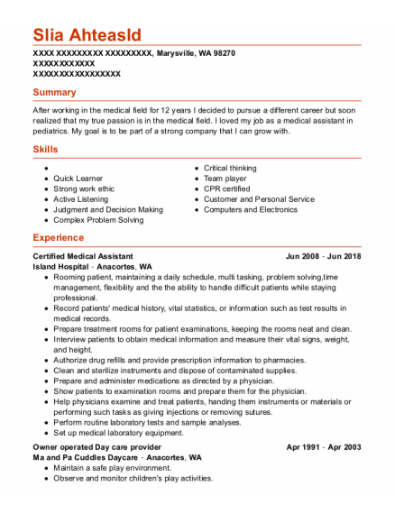 Certified Medical Assistant resume example Washington