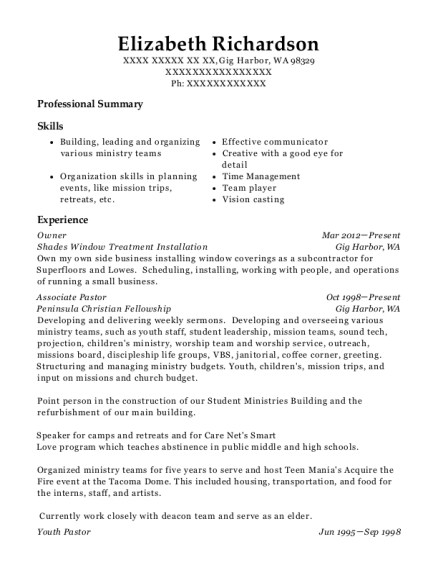 Owner resume sample Washington